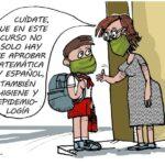 caricaturas de osval sobre el reinicio del curso escolar en cuba